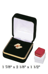 Classic Red Velvet Ring Gift Box with Brass Trim