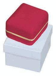 Classic Red Velvet Earring Gift Box with Brass Trim