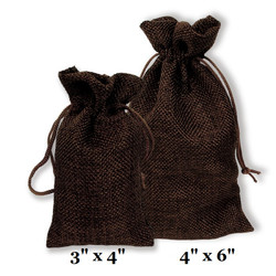 "Brown Burlap Fabric Drawstring Bags - 12Bags/Pk (4"" x 6"")"