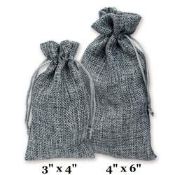 """Grey Burlap Fabric Drawstring Bags - 12Bags/Pk (4"""" x 6"""")"""