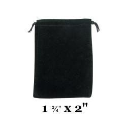 """Black Ultra-Soft Velvet Drawstring Bags - 12 Bags/Pk (1 3/4"""" x 2""""H)"""