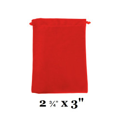 "Red Ultra-Soft Velvet Drawstring Bags - 12 Bags/Pk (2 3/4"" x 3""H)"
