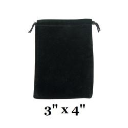 """Black Ultra-Soft Velvet Drawstring Bags - 12 Bags/Pk (3"""" x 4""""H)"""