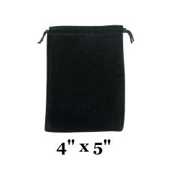 """Black Ultra-Soft Velvet Drawstring Bags - 12 Bags/Pk (4"""" x 5""""H)"""