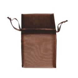 "Chestnut Brown Organza Bags - 12 Bags/Pack (6""W x 8""H)"