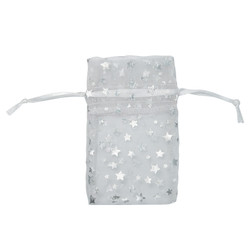 "White w/Silver Stars Organza Bags - 12 Bags/Pack (5""W x 6""H)"