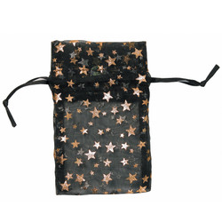 "Black w/Gold Stars Organza Bags - 12 Bags/Pack (2 3/4""W x 3""H)"