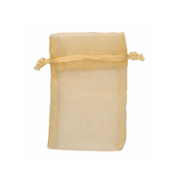 "Gold Tone Organza Bags - 12 Bags/Pack (1 3/4""W x 2""H)"