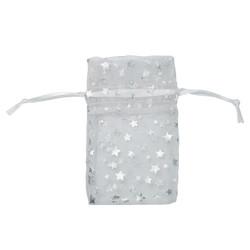 "White w/Silver Stars Organza Bags - 12 Bags/Pack (1 3/4""W x 2""H)"