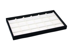 White Faux Leather 24 Section Deluxe Tray Insert Liner