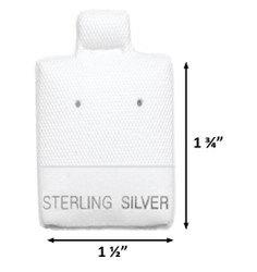 "White ""Sterling Silver"" Printed Vinyl Puff Earring Display Cards - 1 1/2"" x 1 3/4"" - 100Pcs/Pk"