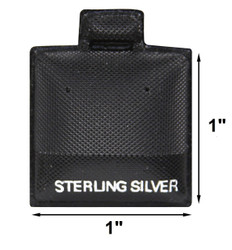 "Black ""Sterling Silver"" Printed Vinyl Puff Earring Display Cards - 1"" x 1"" - 100Pcs/Pk"