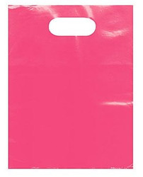 "Pink 9"" x 12"" Patch Handle Bags (100 Bags/Pk)"