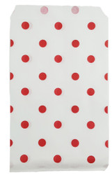 """Red Polka Dot Pattern Paper Bags - 8 1/2"""" x 11"""" -100Bags/Pack"""