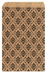 """Damask Pattern Paper Bags - 5"""" x 7"""" - 100Bags/Pack"""