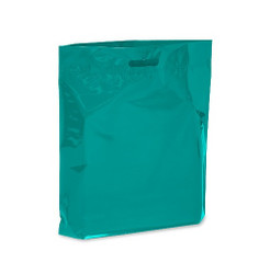 "Teal 15"" x 18"" x 4"" Patch Handle Bags (100 Bags/Pk)"
