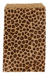 "Leopard Pattern Paper Bags - 6"" x 9"" - 100Bags/Pack"