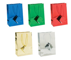 "Assorted Metallic Tote Bag - 8"" x 5"" x 10""H 10Bags/Pack"