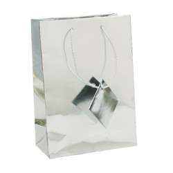 "Silver Metallic Tote Bag - 4 3/4"" x 2 1/2"" x 6 3/4""H (10Bags/Pack)"