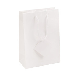 "White Glossy Solid Color Tote Bag - 4 3/4"" x 2 1/2"" x 6 3/4""H (10Bags/Pack)"
