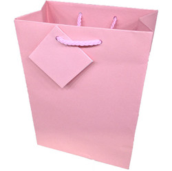 "Pink Matte Finish Shopping Tote Bag - 4 3/4"" x 2 1/2"" x 6 3/4""H (10Bags/Pack)"