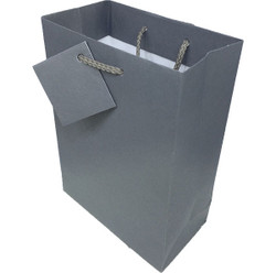 "Dark Grey Matte Finish Shopping Tote Gift Bag - 4 3/4"" x 2 1/2"" x 6 3/4""H (10Bags/Pack)"