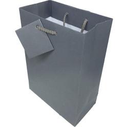 "Dark Grey Matte Finish Shopping Tote Gift Bag - 8"" x 5"" x 10""H (10Bags/Pack)"