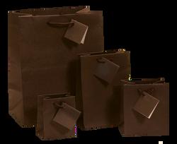 "Dark Brown Matte Finish Shopping Tote Bag - 4 3/4"" x 2 1/2"" x 6 3/4""H (10Bags/Pack)"