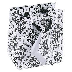 "Damask Print Glossy Tote Bag - 4 3/4"" x 2 1/2"" x 6 3/4""H (10Bags/Pack)"