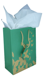 "Green Kraft Butterfly Tote Bag - 4"" x 2 3/4"" x 4 1/2""H (10Bags/Pack)"