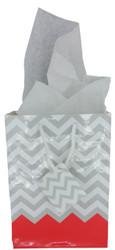 "Coral Polka Dot / Chevron Glossy Tote Gift Bag - 4 3/4"" x 2 1/2"" x 6 3/4""H (10Bags/Pack)"