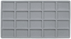 Grey 20 Compartment Flocked Tray Jewelry Insert Liner