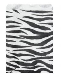 "Zebra Pattern Paper Bags - 6"" x 9"" - 100Bags/Pack"
