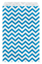 "Blue Chevron Pattern Paper Bags - 5"" x 7"" - 100Bags/Pack"