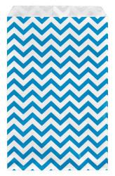 "Blue Chevron Pattern Paper Bags - 5"" x 7"" - 100Bags/Pack"
