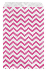 "Pink Chevron Pattern Paper Bags - 100Bags/Pack - (4"" x 6"")"