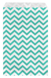 Teal Chevron Pattern Paper Bags - 100Bags/Pack