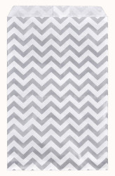 Silver Chevron Pattern Paper Bags - 100Bags/Pack
