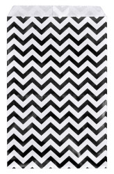 "Black Chevron Pattern Paper Bags - 4"" x 6"" - 100Bags/Pack"