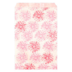 """Pink Flower Pattern Paper Bags - 4"""" x 6"""" - 100Bags/Pack"""