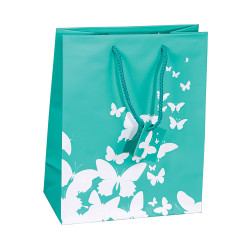 "White Butterfly Spot Coating Tote Gift Bag - 3"" x 2"" x 3 1/2""H (10Bags/Pack)"