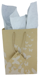 "White Butterfly Tote Bag - 3"" x 2"" x 3 1/2""H (10Bags/Pack)"