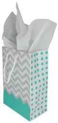 """Robin's Egg Polka Dot / Chevron Glossy Tote Gift Bag - 3"""" x 2"""" x 3 1/2""""H (10Bags/Pack)"""