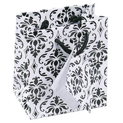 "Damask Print Glossy Tote Bag - 3"" x 2"" x 3 1/2""H (10Bags/Pack)"