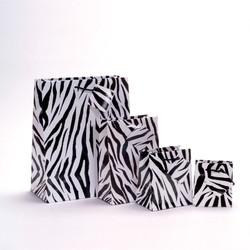 """Zebra Print Glossy Tote Bag - 3"""" x 2"""" x 3 1/2""""H (10Bags/Pack)"""
