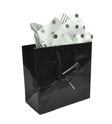 "Black Glossy Solid Color Tote Bag - 3"" x 2"" x 3 1/2""H (10Bags/Pack)"