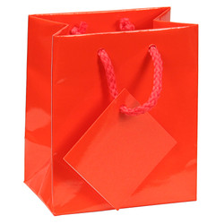 "Red Glossy Solid Color Tote Bag - 3"" x 2"" x 3 1/2""H (10Bags/Pack)"
