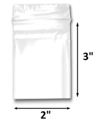 "2"" x 3"" Reclosable Plastic Zipper Bags 2 Mil, Clear. (100 Bags)"