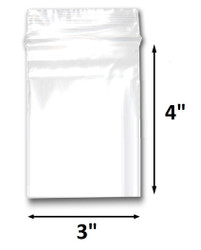 "3"" x 4"" Reclosable Plastic Zipper Bags 2 Mil, Clear. (100 Bags)"
