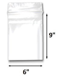"6"" x 9"" Reclosable Plastic Zipper Bags 2 Mil, Clear. (100 Bags)"